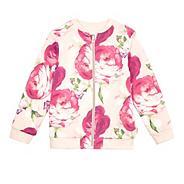 Girls' light pink reversible bomber jacket