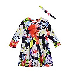 Baker by Ted Baker - Girls' navy floral print dress and headband
