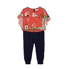 Baker by Ted Baker - Girls' orange and navy floral print jumpsuit