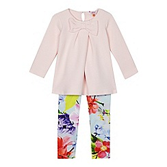 Baker by Ted Baker - Girls' light pink quilted bow top and floral print leggings