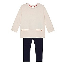 Baker by Ted Baker - Girls' light pink spotted sweater and navy leggings set