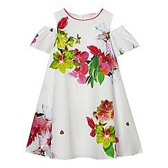 Baker by Ted Baker - Girls' white floral print cold shoulder dress