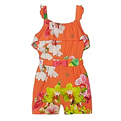 Baker by Ted Baker - Girls' orange floral print playsuit