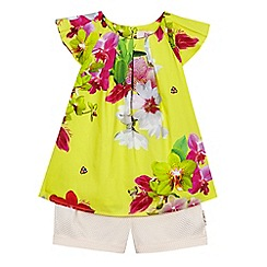 Baker by Ted Baker - Girls' yellow floral print top and pink textured shorts set