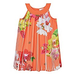 Baker by Ted Baker - Girls' orange floral print pleated dress