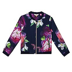 Baker by Ted Baker - Girls' multi-coloured floral print bomber jacket