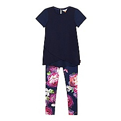 Baker by Ted Baker - Girls' navy crossover top and leggings set