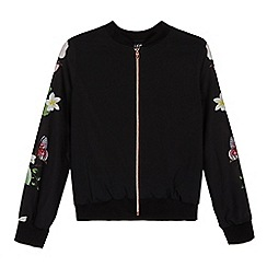 Baker by Ted Baker - Girls' black floral embellished bomber jacket