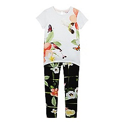 Baker by Ted Baker - Girls' off white floral print floral print t-shirt and legging set
