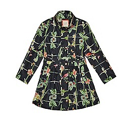 Baker by Ted Baker - Girls' black floral print mac coat