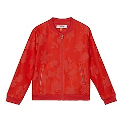 Baker by Ted Baker - Girls' orange perforated floral bomber jacket
