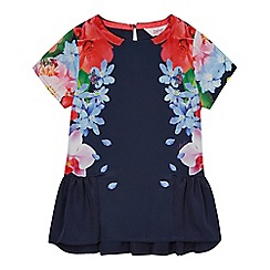 Baker by Ted Baker - Girls' navy floral print peplum top