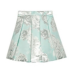 Baker by Ted Baker - Girls' light green floral foil-effect pleated skirt