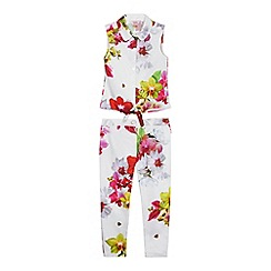 Baker by Ted Baker - Girls' white floral print sleeveless top and trousers set