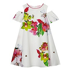 Baker by Ted Baker - Girls' white floral print cold shoulder dress