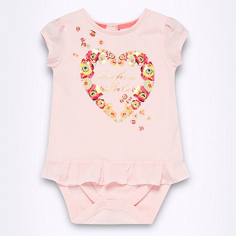 Baker by Ted Baker - Babies pink rose heart printed bodysuit