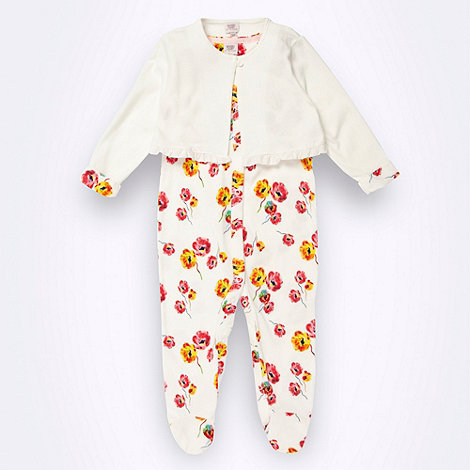 Baker by Ted Baker - Babies cream floral suit and cardigan set