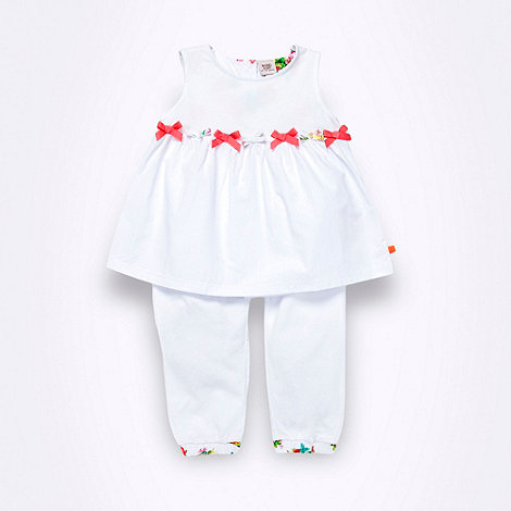 Baker by Ted Baker - Babies white bow top and trousers set