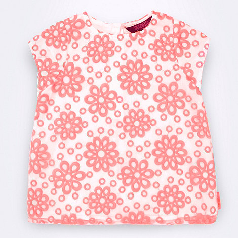 Baker by Ted Baker - Girl's pink short sleeved broderie top