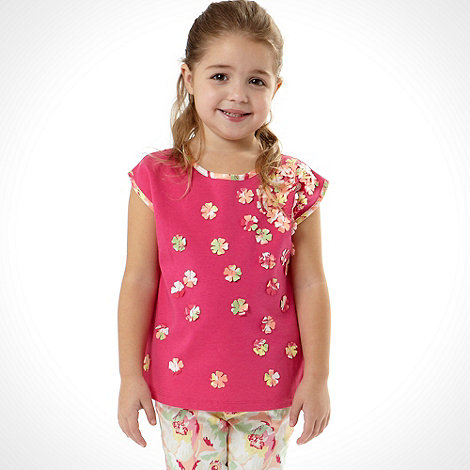 Baker by Ted Baker - Girl+s pink short sleeved 3d flower top