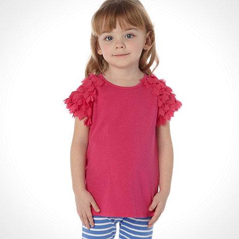 Baker by Ted Baker - Girl+s pink appliqued petal sleeved top
