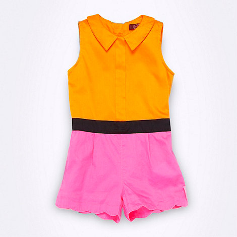 Baker by Ted Baker - Girl+s orange colour block playsuit