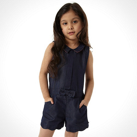 Baker by Ted Baker - Girl+s navy chambray playsuit