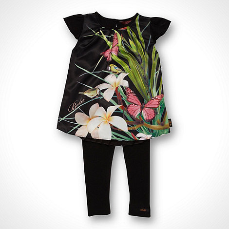 Baker by Ted Baker - Girl+s black photographic flower top and leggings