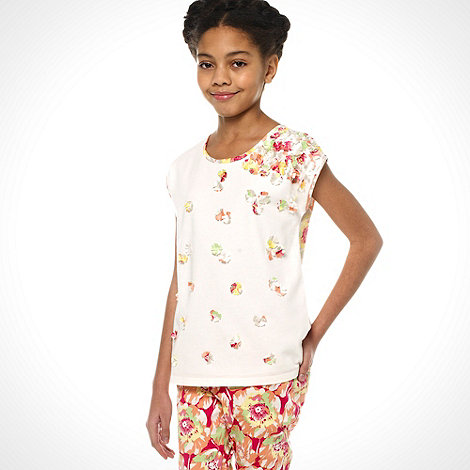 Baker by Ted Baker - Girls off white graphic 3D flower top