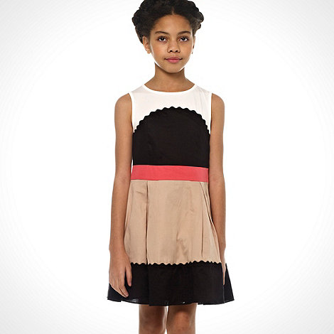 Baker by Ted Baker - Girl+s beige colour block scalloped dress