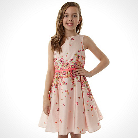 Baker by Ted Baker - Girl+s pink fluorescent floral party dress