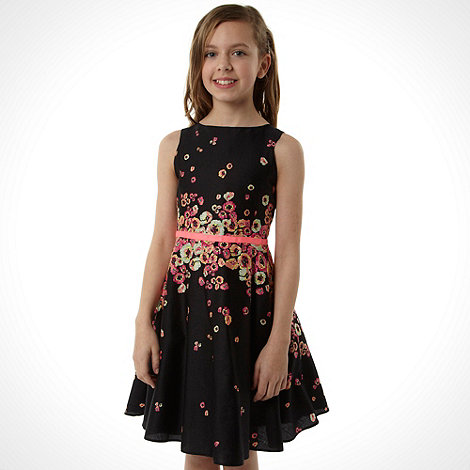 Baker by Ted Baker - Girl+s black fluorescent floral party dress