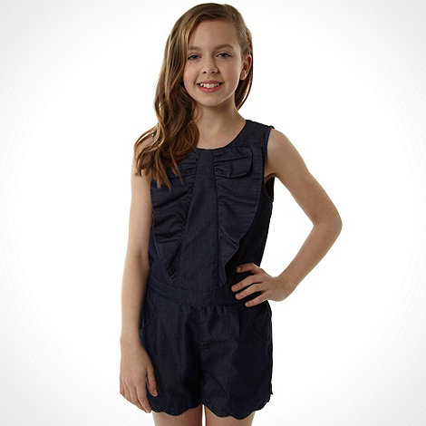Baker by Ted Baker - Girl+s navy chambray frill playsuit