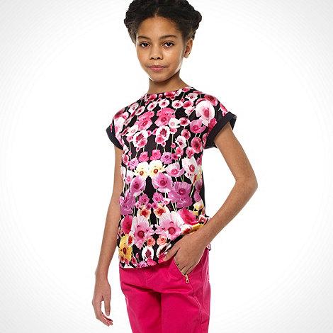 Baker by Ted Baker - Girl+s black poppy printed short sleeved top