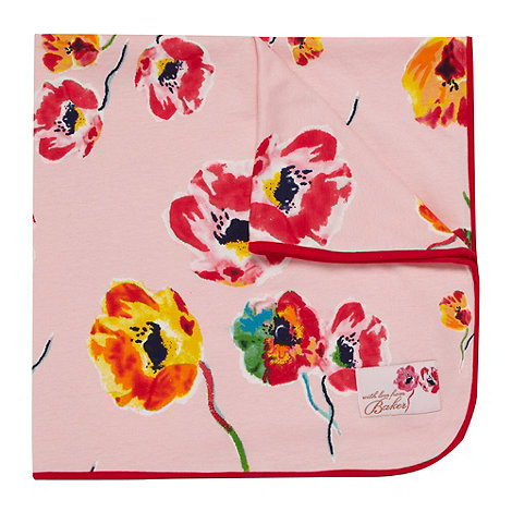 Baker by Ted Baker - Babies pink poppy printed jersey blanket