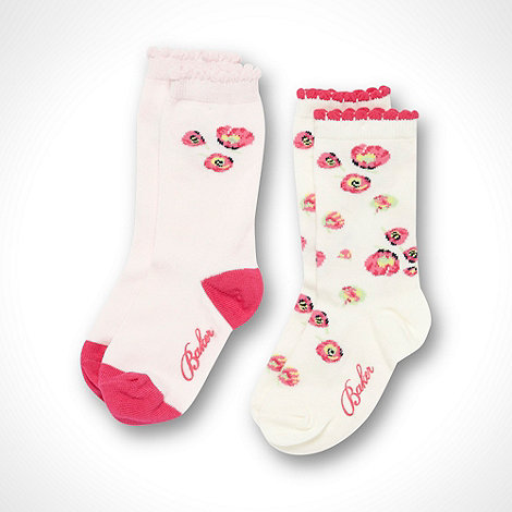 Baker by Ted Baker - Girl+s pack of two pink and cream poppy socks