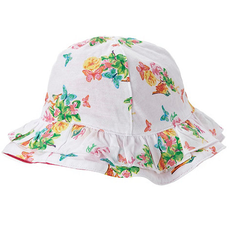 Baker by Ted Baker - Babies white floral reversible sun hat