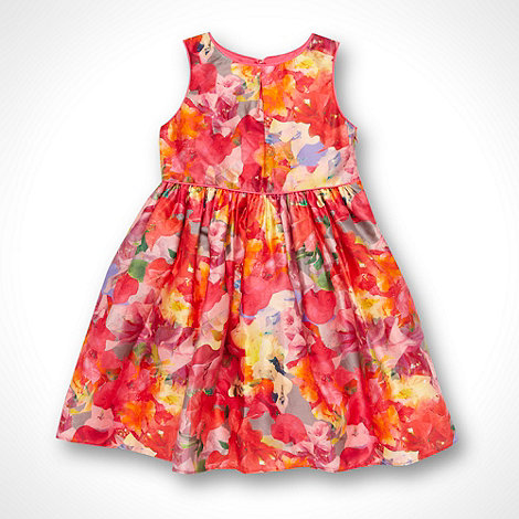 Baker by Ted Baker - Girl+s pink keyhole neck floral party dress