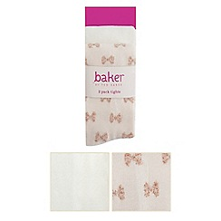 Baker by Ted Baker - Pack of two baby girls' pink bow and cream ballet tights