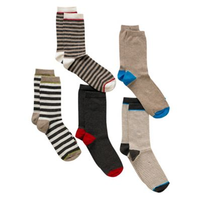 Boys Pack Of Five Striped Socks