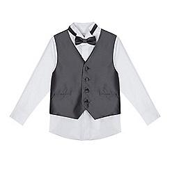 RJR.John Rocha - Boys' silver diamond waistcoat, bow tie and shirt set