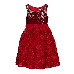 RJR.John Rocha - Girls' red sequinned rose embellished dress