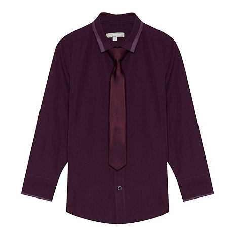 bluezoo - Boy+s plum purple shirt and tie set