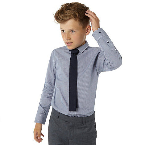 RJR.John Rocha - Boy+s blue checked shirt and knitted tie set