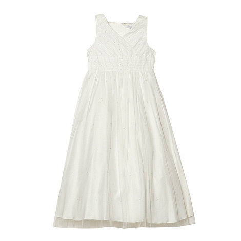 Tigerlily - Girl's ivory beaded mesh occasion dress