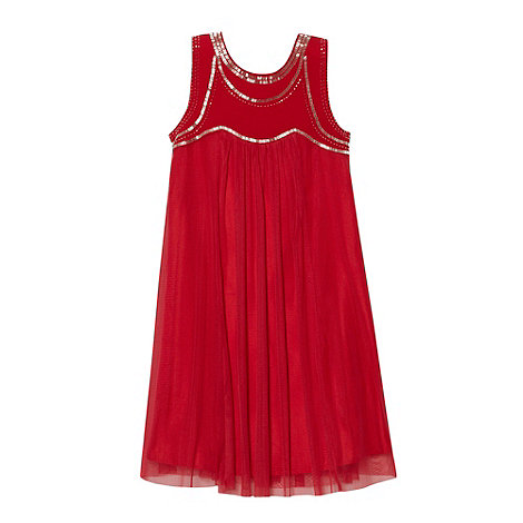 Tigerlily - Girl+s red beaded bodice dress