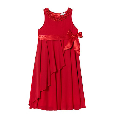 Tigerlily - Girl+s red applique rosebud dress