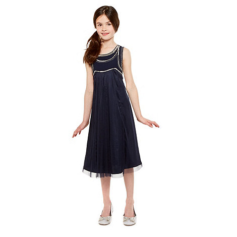 Tigerlily - Girl+s navy beaded bodice dress