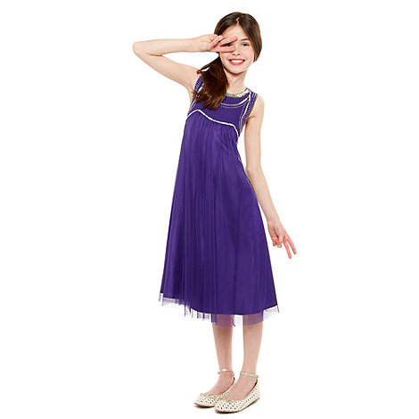 Tigerlily - Girl+s purple beaded bodice dress