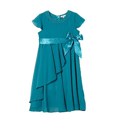 Tigerlily - Girl+s turquoise cap sleeved rosebud dress